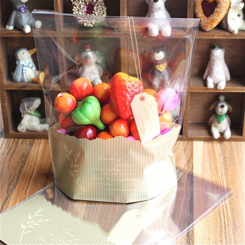 50pcs 18x23cm large size Clear Cellophane Stand Up Pouch Plastic Bags For Cookie Bakery Baking Bread Toast Candy Food Packaging
