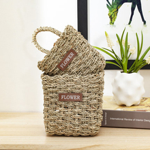 Straw rattan storage basket wall-mounted  desktop bathroom hanging key