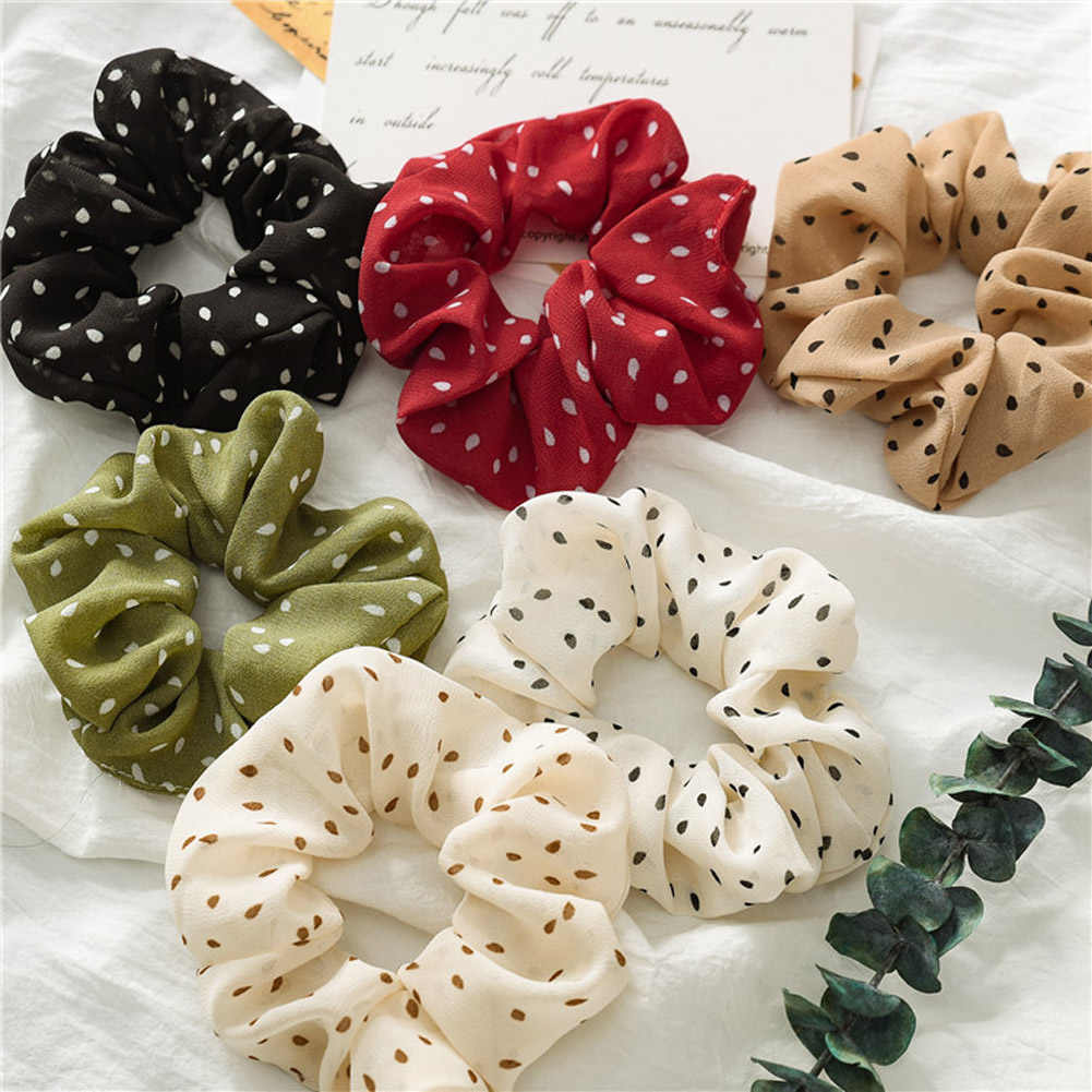 2019 New Dots Wave Points Elastic Scrunchies New Hot Ponytail Holder Hairband Hair Rope Tie Fashion Stipe For Women Girls