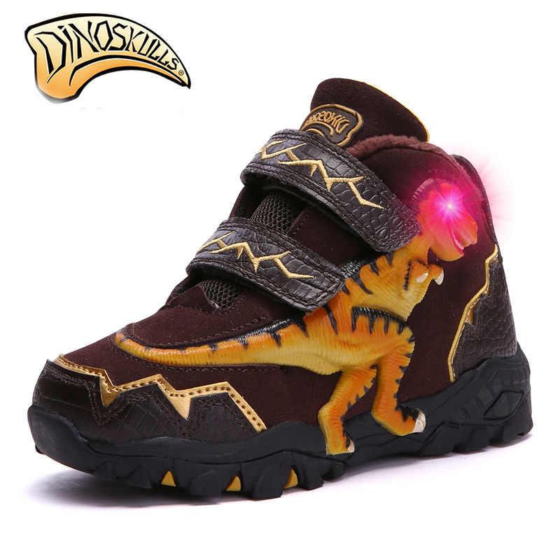 Dinoskulls/сапоги из натуральной кожи для мальчиков, Детские теплые флисовые меховые сапоги, детские зимние сапоги, теплая обувь, мерцающие сапоги, 3D динозавр