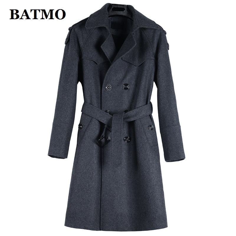 BATMO 2019 new arrival autumn&winter high quality wool casual trench coat men,men's long trench coat,plus-size S-6XL 1122