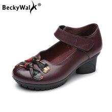 BeckyWalk WSH3003 แฟชั่นรองเท้าส้นสูงผู้หญิงปั๊มสำหรับแม่พิมพ์โบว์โบว์รองเท้าผู้หญิงรอบนิ้วเท้าหนังแท้รองเท้าผู้หญิง