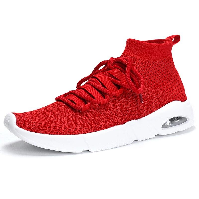 Красный Для мужчин кроссовки легкий дышащий материал сетки спортивные дешевые высокие кроссовки стабильность воздушной подушке Эластична...