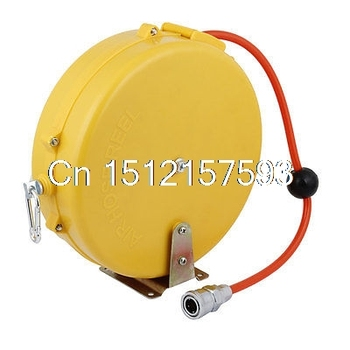 Orange Plastic Shell Retractable Tube Round Air Hose Reel w Pipe