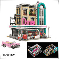H HXY 15037 Genuine 2778Pcs Streetview Series The Downtown Diner Set 10260 LEPIN Building Blocks Bricks
