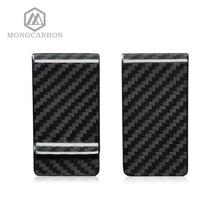 Monocarbon alta classe real 3k fibra de carbono dinheiro clipes carteira com um livre de fibra de carbono padrão suportes fábrica diretamente