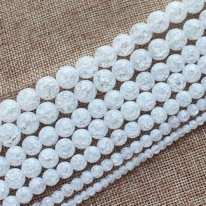 Mini. ordren er $ 7! 4,6,8,10,12,14,16,18,20mm White Crack Quartz - Mode smykker - Foto 4