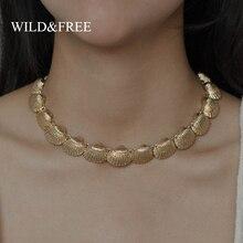 Wild&Free 2019 New Seashell Necklace For Women Boho Zinc Alloy Statement Gold Choker Summer Ocean Jewelry Wedding Gift