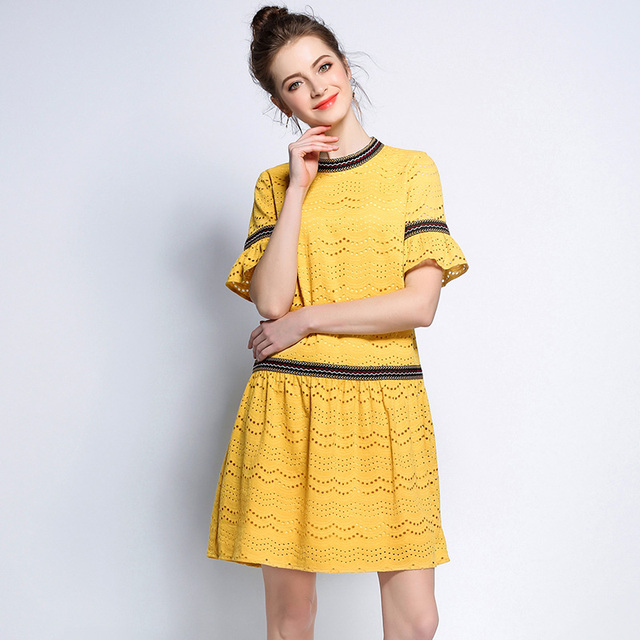 5XL women cute work dresses plus size woman hollow out lace flare sleeve  knee length european 7b8c6b919e8c
