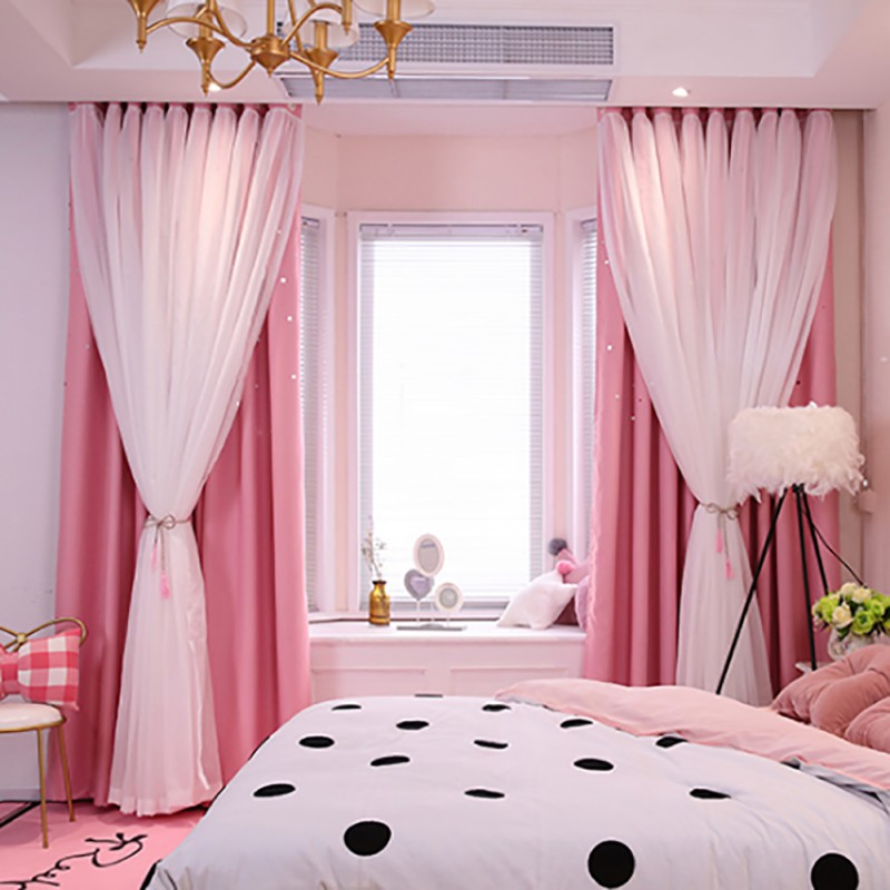 2019 1PC Nordic Modern Tulle Black Out Double Curtains with Star Tassel Black Out Blinds Window Curtains For Living room in Curtains from Home Garden