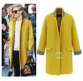 In Stock 2015 Woolen Coat European Style Autumn Winter Women Md-Long Overcoat Single Button Slim Female Casaco Feminino LW180