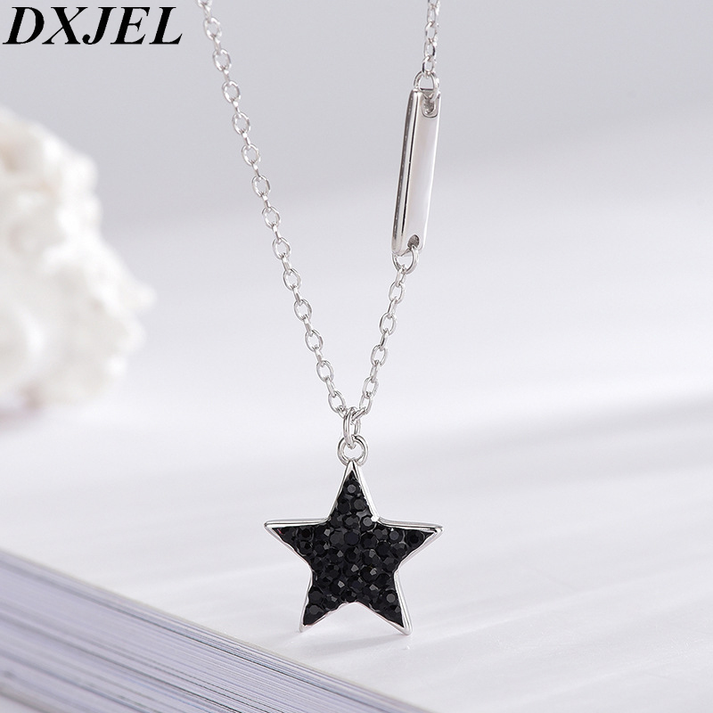 DXJEL 100% 925 Sterling Silver Black Crystal Star Charm Pendant Necklace Boho Jewelry Choker Necklaces for Women Dropshipping