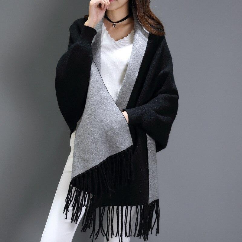 Black gray scarf winter Big women s cashmere scarves long sleeved multi purpose shawl bat sleeve