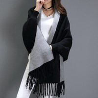 Black gray scarf winter Big women's cashmere scarves long sleeved multi purpose shawl bat sleeve cape echarpe hiver femme 195cm