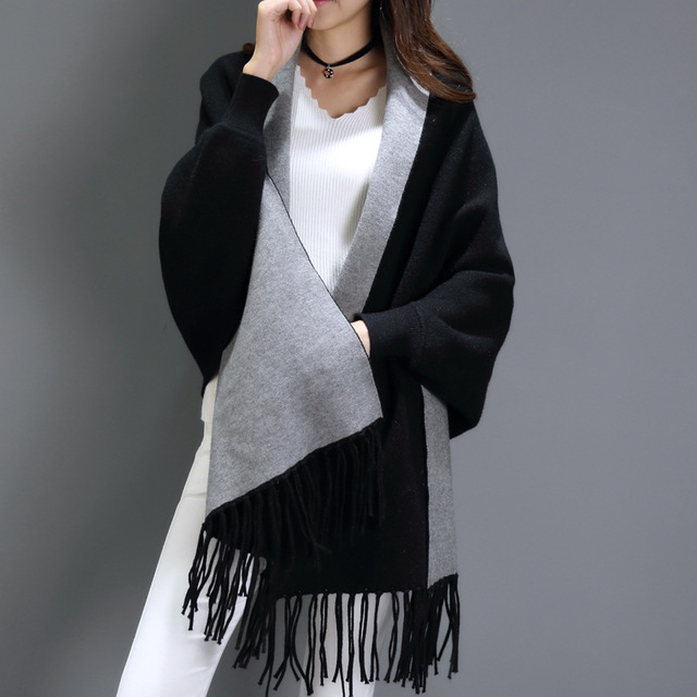 932f7f623 Black gray scarf winter Big women's cashmere scarves long-sleeved  multi-purpose shawl bat sleeve cape echarpe hiver femme 195cm