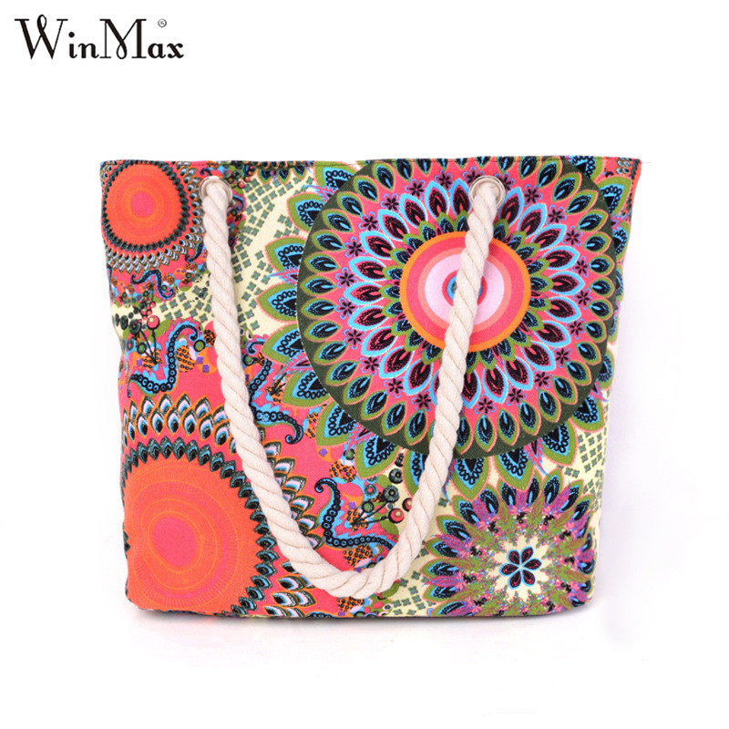 Winmax Factory New Women Vintage Cheap Hand bags Casual Summer Canvas Big Shopping Shoulder Floral Printing Beach Tote handbags fashion summer canvas women beach bags fashion printing lady girls handbags shoulder tote casual bolsa shopping bags 3
