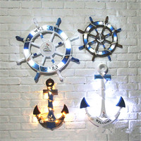 45cm/60cm Mediterranean Nautical Wooden LED Light Rudder Anchor Boat Ship Wheel Helm Home Wall Hang Party Decoration Room
