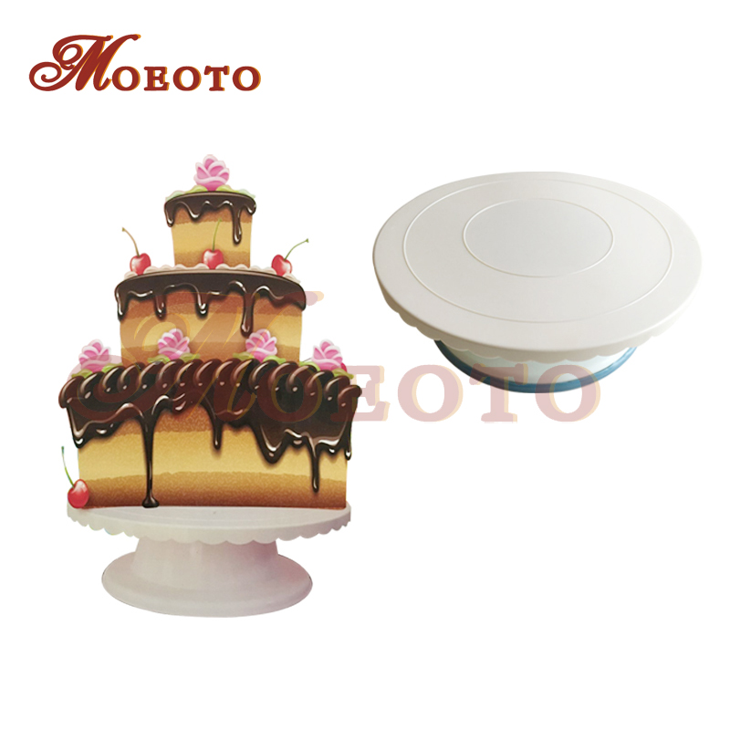 Trade Cake Stands : Plastic cake revolving turntable decorating stand