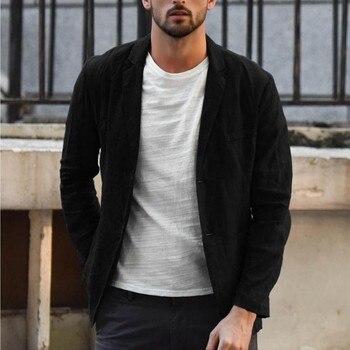 men blazer masculino sobretudo masculino blazers 2019 Fashion Slim Fit Linen Blend Pocket Solid Long Sleeve polyester Coat Z4