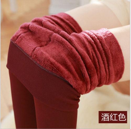 Женские однотонные зимние плотные теплые флисовые утепленные эластичные леггинсы Tihgts - Цвет: burgundy