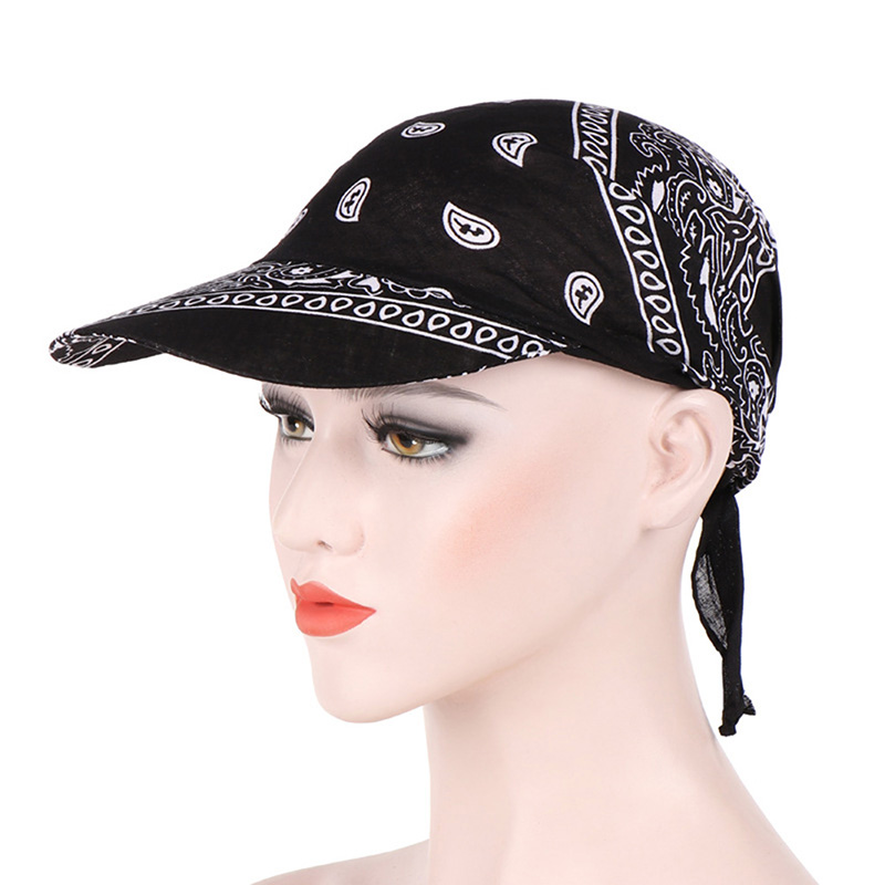 HTB1HHvvbrys3KVjSZFnq6xFzpXaP - Packable Head Scarf Visor Hat With Wide Brim Sunhat Women Summer Beach Sun Hats UV Protection Female Printed Cap