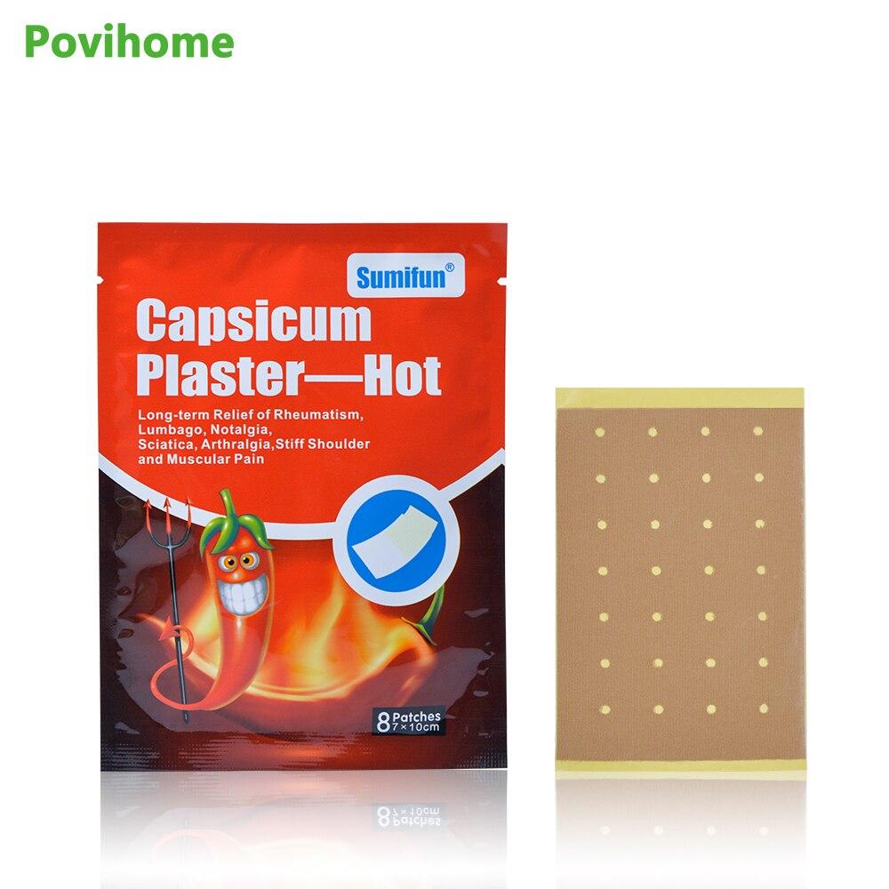 64Pcs = 8 Taschen Capsicum Gips Heißen Muscle Schmerzen Zurück Schmerzen Relief Körper Medizinische Pflaster Joint Schmerzen Mörder Patch d0675