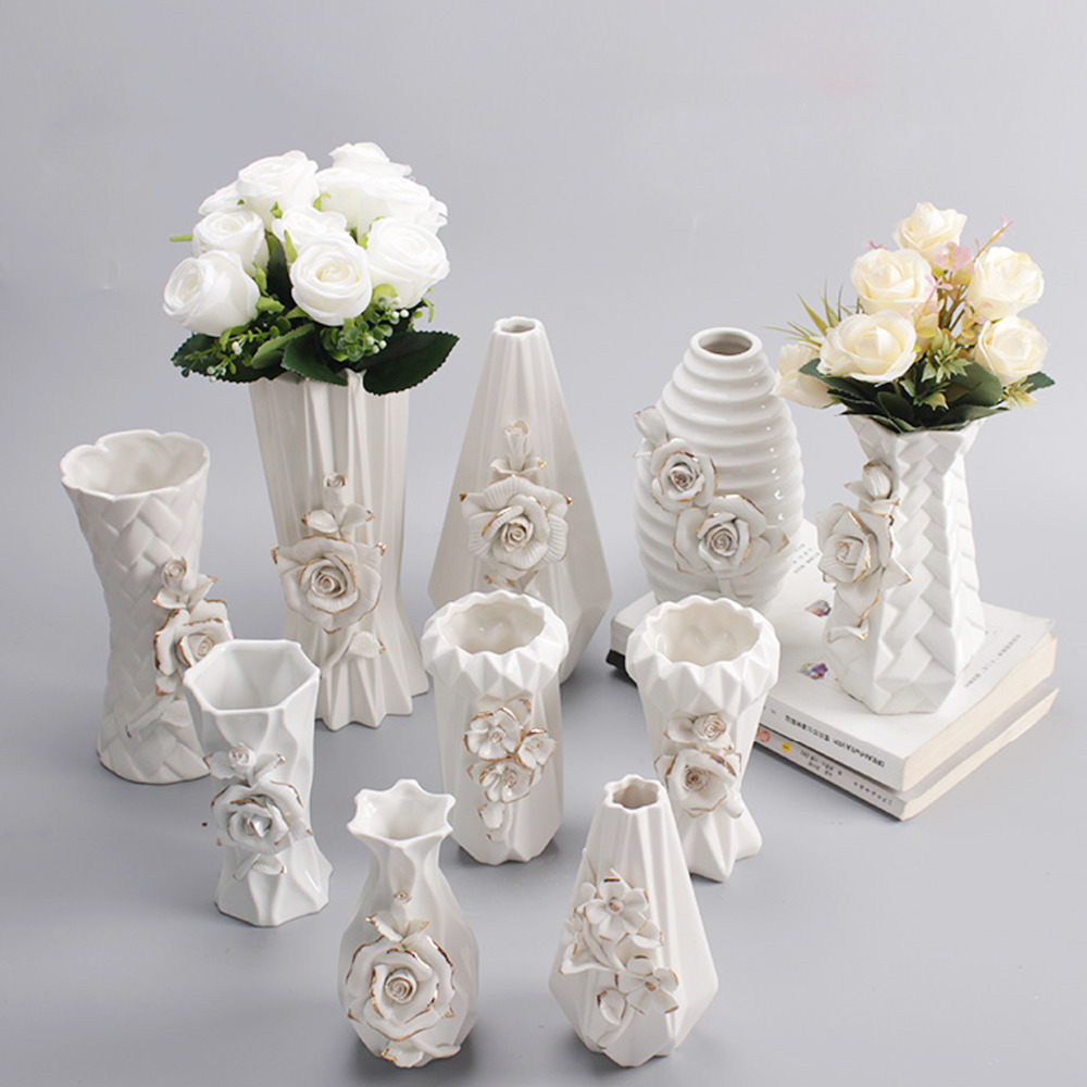 AliExpress & US $15.07 |White Ceramic Decorative Flower Vases with Handmade Porcelain Flowers for Kitchen Table Home Office Wedding Centerpiece-in Vases from ...