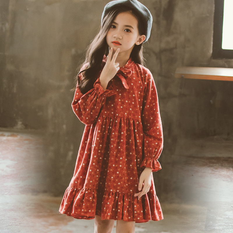 big girls vintage dresses 2018 autumn girl floral dress long sleeve children dress kids clothes size 3 4 6 7 8 9 10 11 12 13 14 big girls dress spring floral printed girls party princess dress long sleeve kids clothes for girls 6 8 10 12 year girl dress