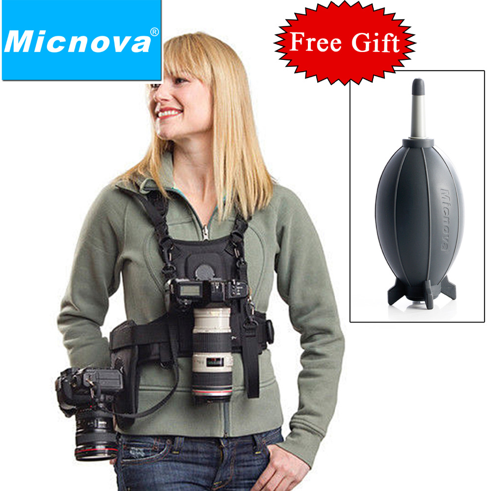 Micnova MQ MSP01 Carrier II Multi Camera Carrier Photographer Vest with Dual Side Holster Strap for