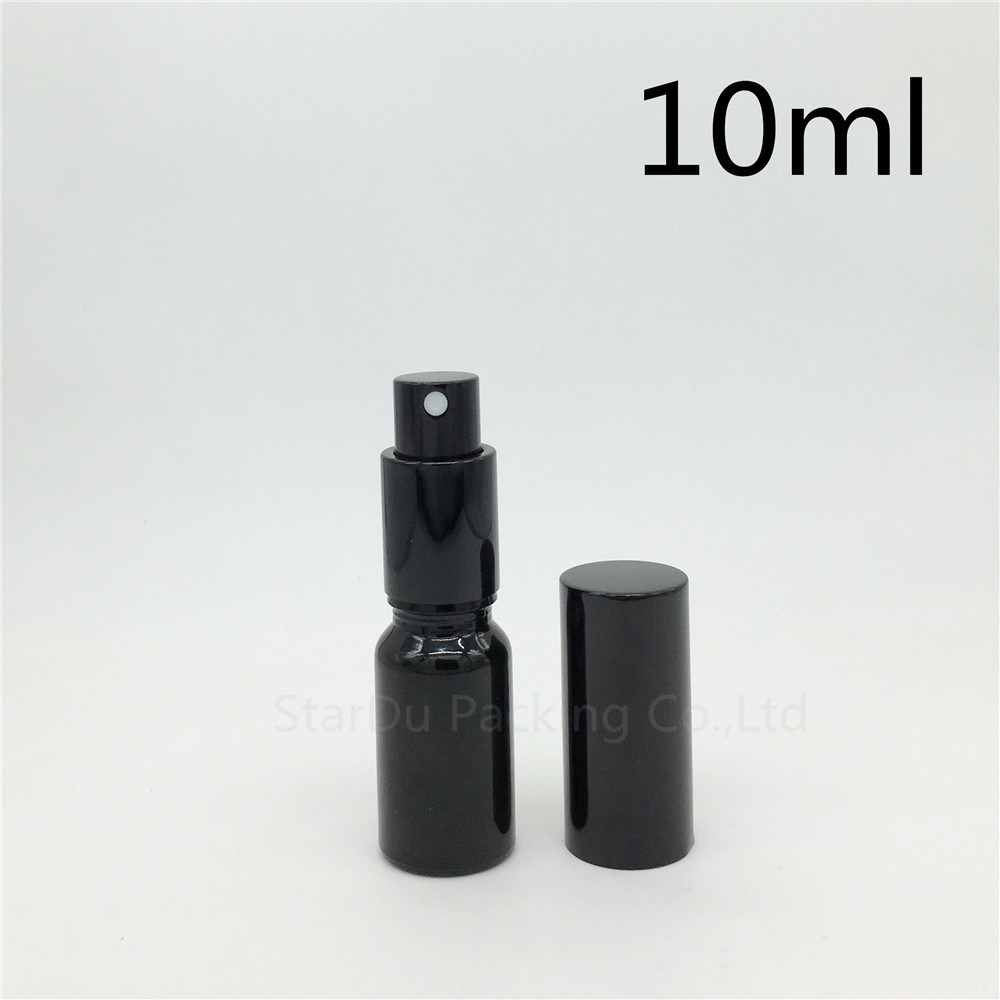 Free Shipping 240pcs 10ml black glass bottle with Perfume aluminum sprayer, 10cc Essential Oil Spray Glass Bottles