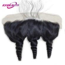 AddBeauty, свободная волна, бразильские волосы remy, 13x4, фронтальное закрытие, 130% плотность, предварительно сорванные, с волосами младенца, часть