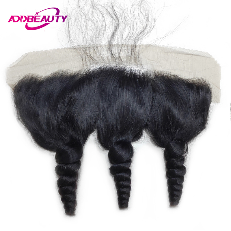 AddBeauty Ear To Ear Loose Wave Brazilian Remy Hair 13x4 Lace Frontal Closure 130% Density Pre Plucked With Baby Hair Free Part