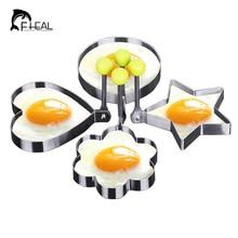 Fheal 4 unids/set molde lindo del huevo de acero inoxidable redondo flower corazón forma anillos de huevo freír tortilla molde de la galleta del molde de cocina herramientas
