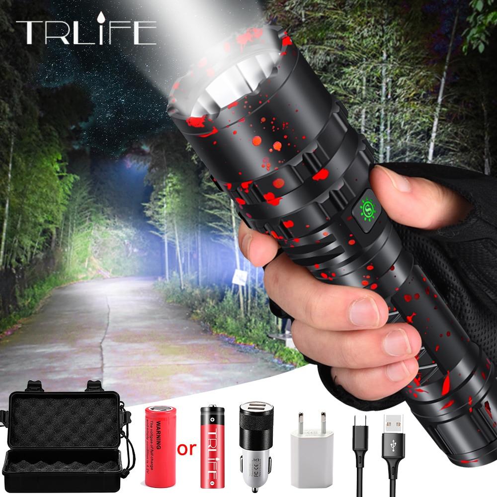 ハイパワー XHP50.2 LED 懐中電灯 Xlamp アルミ狩猟 L2 防水トーチライト強力なランテルナ使用 18650 26650 バッテリー