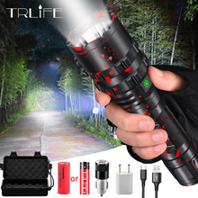 цена на 8000 Lumens Flashlight 5-Mode CREE XM-L T6 LED Flashlight Zoomable Focus Torch by 1*18650 Battery or 3*AAA Battery