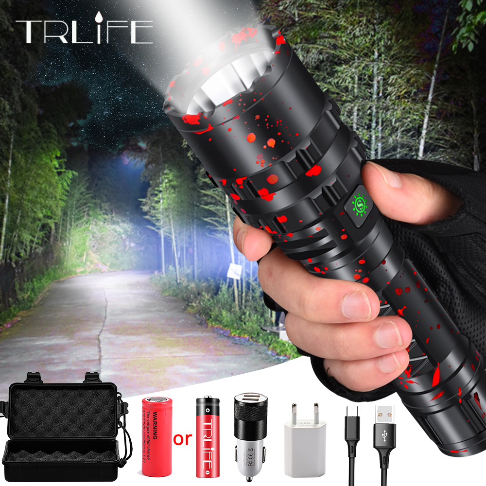 Lampe torche haute puissance, chasse en aluminium XHP50.2, L2, lumière de la torche étanche, puissant, lanterne en utilisation, batterie 18650 26650