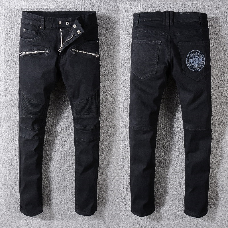 030430b4ce9 New France Style  1049  Men s Ripped Embroidery logo Stretch Washed Moto  Pants Biker Black