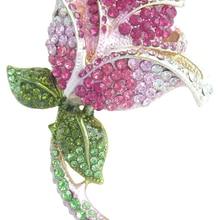 """3,7"""" симпатичная роза цветок брошь булавка розовый кристалл горного хрусталя EE04751C1"""
