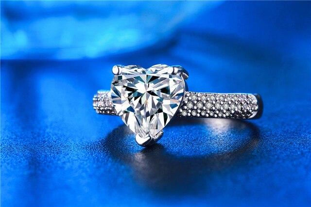 SHUANGR Elegant Shiny Big CZ Zircon Jewelry Heart Silver Color Rings For Women Wedding Engagement vintage ring zirconia bijoux