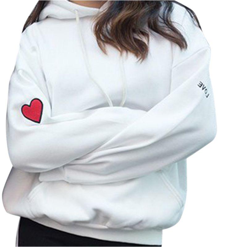 Fashion Heart Embroidery Hooded Long Sleeve Women Hoodies Sweatshirt