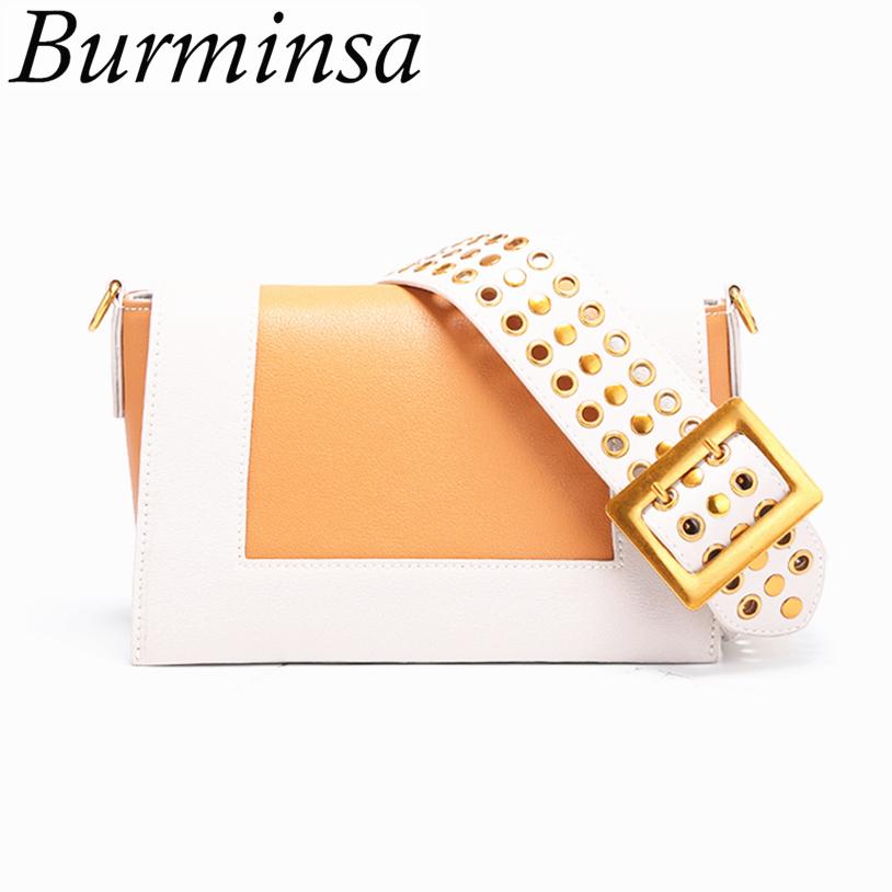 Burminsa Panelled Genuine Leather Bags Women Wide Straps Cute Flap Famous Brand High Quality Luxury Shoulder Crossbody Bags 2018 burminsa brand winter round saddle genuine leather bags smiley designer handbags high quality shoulder crossbody bags for women