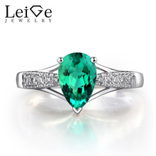 Leige Jewelry Tear Drop Shape Emerald Ring Green Gemstone Engagement Rings for Women Silver 925 Jewelry May Birthstone
