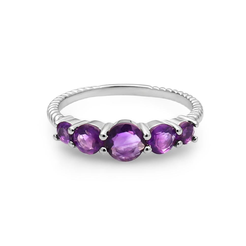 Image 3 - GEMS BALLET Classic 1.28ct Round Natural Amethyst Rope Band Stackable Ring For Women Wedding 925 Sterling Silver Fine JewelryRings   -