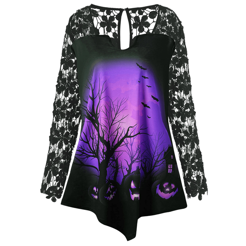 Wiaplo Plus Size Halloween Pumpkin Lace Insert Asymmetrical T-Shirt Punk Casual O Neck Long Sleeve Print T Shirt Ladies Tops