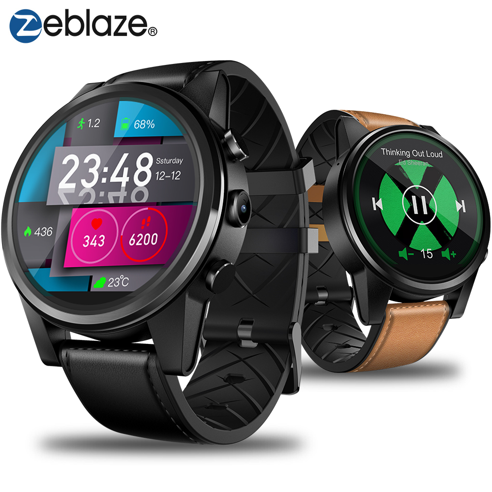 Zeblaze THOR 4 PRO 4G SmartWatch 1.6 pouces Affichage à Cristaux GPS/GLONASS Quad Core 16 GB 600 mAh hybride En Cuir Bracelet Montre Smart Watch Hommes