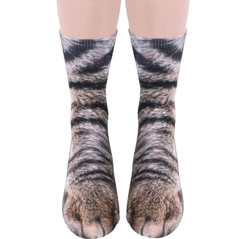 BTLIGE 3D Animals Paw Print Socks Unisex Crew Long Stocks Soft Casual Cute Cotton Socks Children Dog Horse Zebra Pig Cat Paw