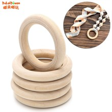 Wooden Beads Connectors Circles Rings Beads Unfinished Natural Wood Lead-Free Beads 15mm-65mm 5pcs(China)