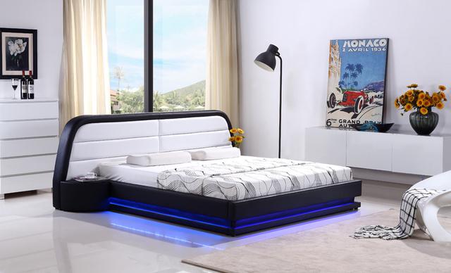 Control remoto de cuero moderno y contemporáneo LED cama muebles de dormitorio de matrimonio Hecho en China