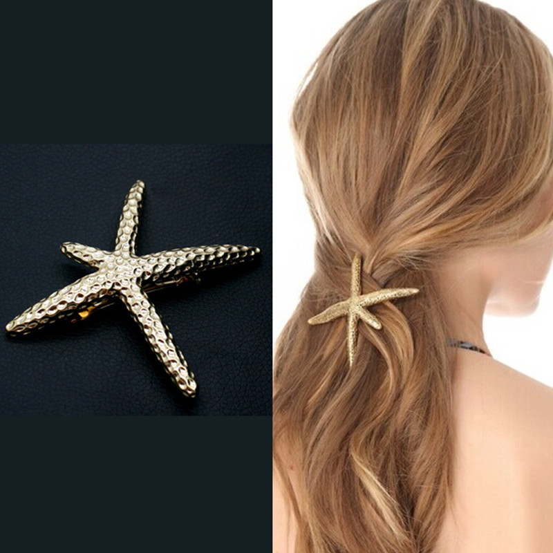 Innovative golden stars starfish exaggerated spring card hairpin hair accessories female fashion and personality