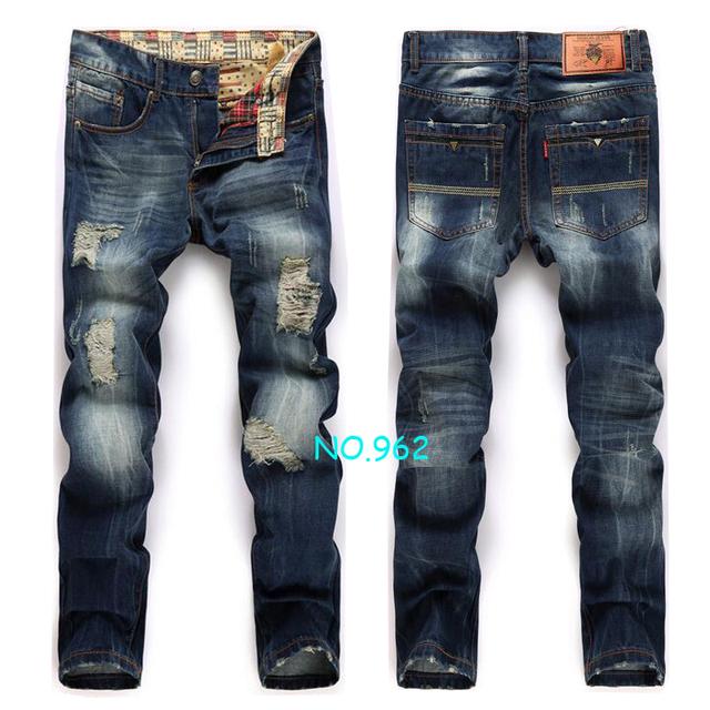 High quality men's jeans hole Casual  ripped jeans men hiphop pants  Straight jeans for men denim trousers jeans men